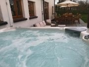 North Devon Holiday Cottage Luxury large Hot Tub on the patio
